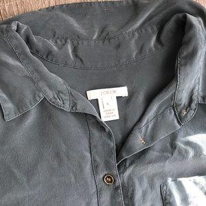 J Crew Short Sleeve Silk Blouse